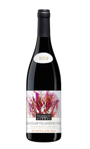 An image of a bottle of red wine with a label identifying it as 2019 beaujolais-villages nouveau by Georges Dubouf