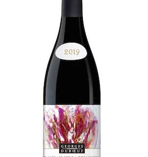 An image of a bottle of French beaujolais villages nouveau red wine